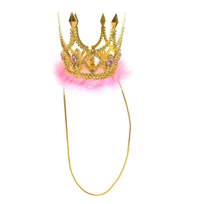 Корона Царица, с камнями, на резинке, цвета МИКС