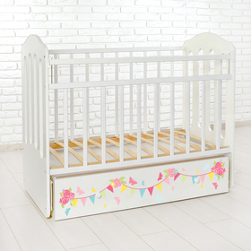 Детская кроватка «Доченька» на маятнике, с ящиком, цвет белый