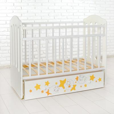 Детская кроватка «Сладкие сны» на маятнике, с ящиком, цвет белый