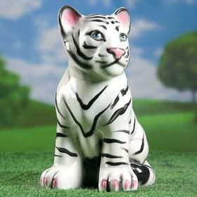 Садовая фигура 'Белый тигренок', белый цвет, 30 см Ош