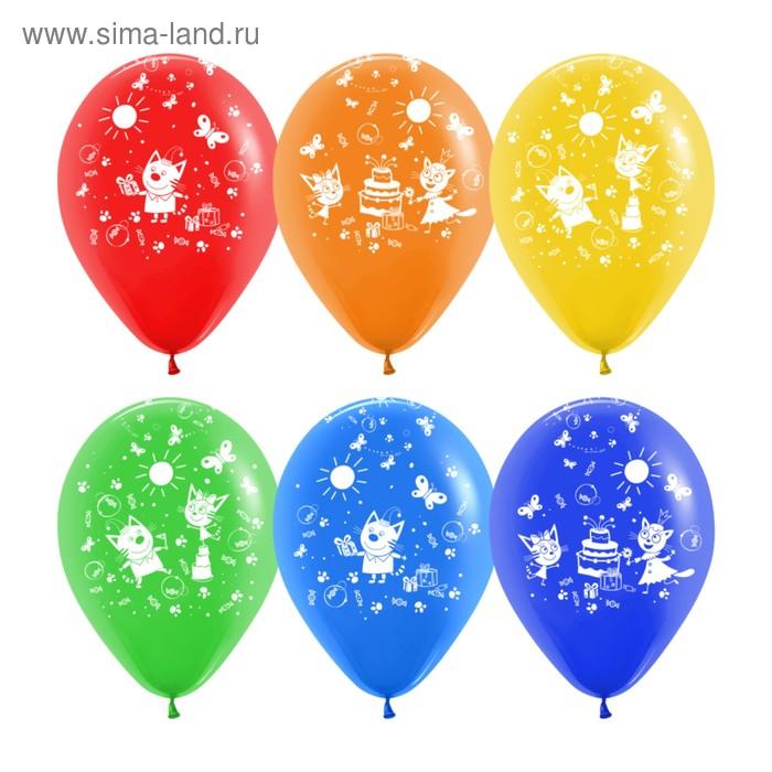 """Шар латексный 12"""" """"Три кота подарки ассорти"""", пастель, 5 ст, набор 50 шт., МИКС"""