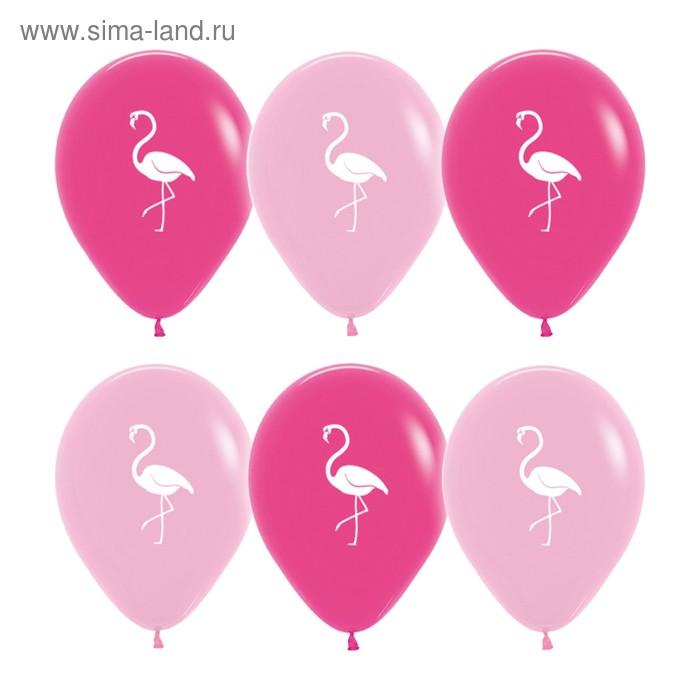 "Шар латексный 12"" «Фламинго», пастель, 2-сторонний, набор 12 шт., МИКС"