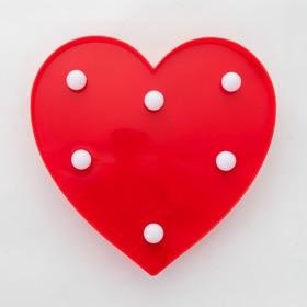 Ночник пластик от батареек 2АА 'Красное сердце' 16х16х2,8 см Ош