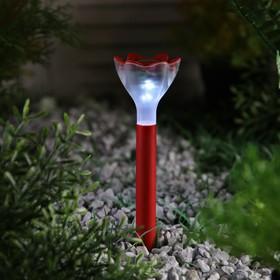 Фонарь садовый на солнечной батарее 'Цветок красный', 32 см, d=6 см, 1 led, пластик Ош