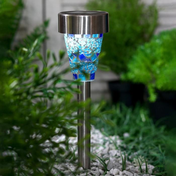 """Фонарь садовый на солнечной батарее """"Витраж небесный"""", 38.5 см, d=7.5 см, 1 led, металл"""