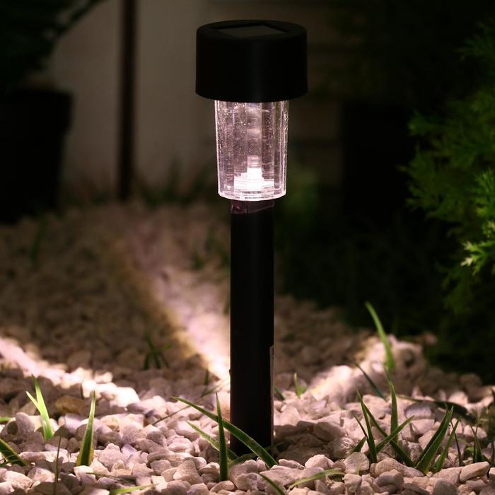 Фонарь садовый на солнечной батарее Цилиндр, 31 см, d4.5 см, 1 led, пластик, ТЕПЛЫЙ БЕЛЫЙ