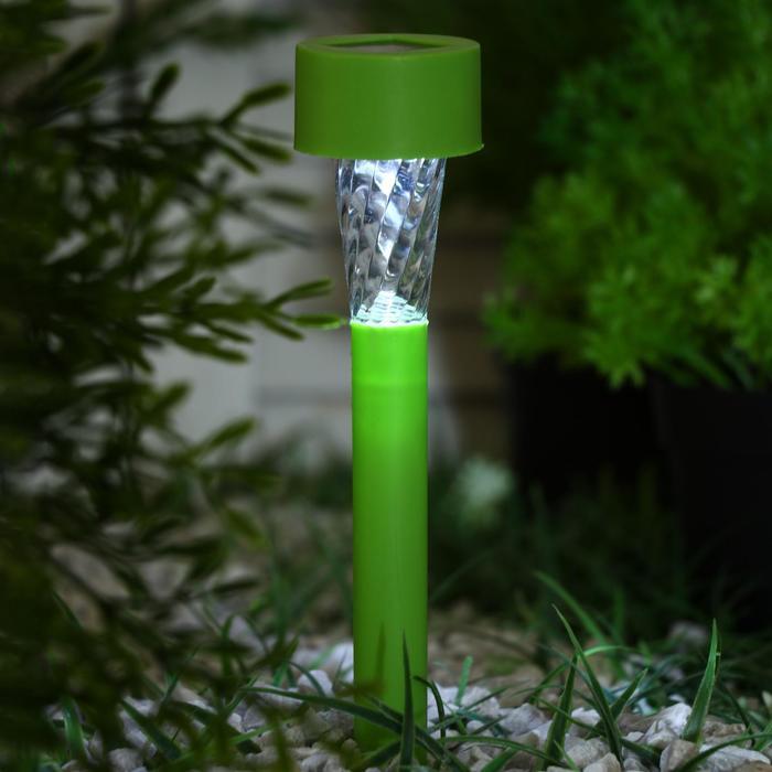 """Фонарь садовый на солнечной батарее """"Трапеция"""", 29,5см, d=4.5см,1 led, пластик,зеленая ножка"""