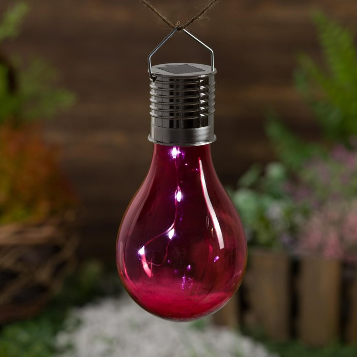 """Фонарь садовый на солнечной батарее """"Лампочка Красная"""", 5 led, пластик, на прищепке"""