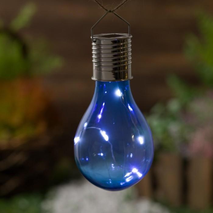"""Фонарь садовый на солнечной батарее """"Лампочка Синяя"""", 5 led, пластик, на прищепке"""