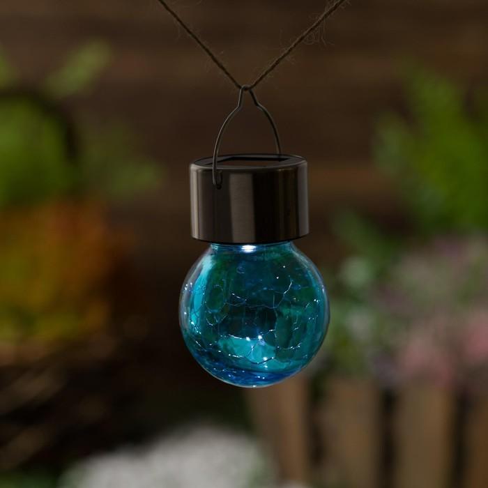 "Фонарь садовый на солнечной батарее ""Лампочка Синяя"", 60 х 90 мм, 1 led, стекло"