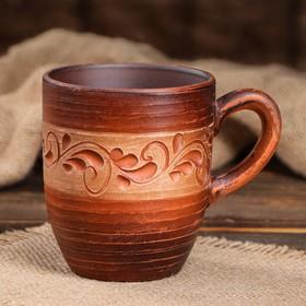 """Чашка """"Чайная"""", роспись ангобом, красная глина, 0,35 л"""