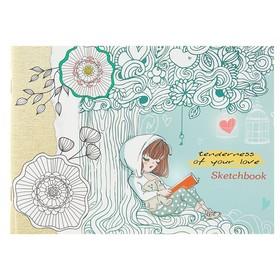 Скетчбук А5, 40 листов на скрепке 'Девочка с мишкой', обложка мелованный картон, глянцевая ламинация Ош
