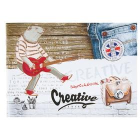 Скетчбук А5, 40 листов на скрепке «Медведь-гитарист», обложка мелованный картон, глянцевая ламинация Ош