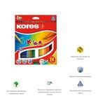 Карандаши 24 цвета Kores, 2.9/175 мм, шестигранные, точилка