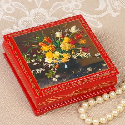 Шкатулка «Цветы в вазе», красная, 10х10 см, лаковая миниатюра