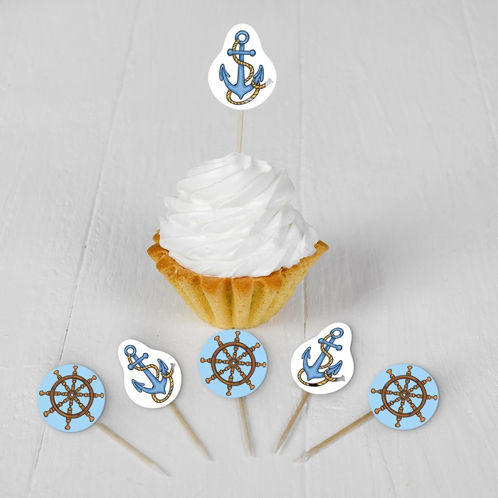 Набор для украшения праздника Морское путешествие, наклейки, 12 шпажек
