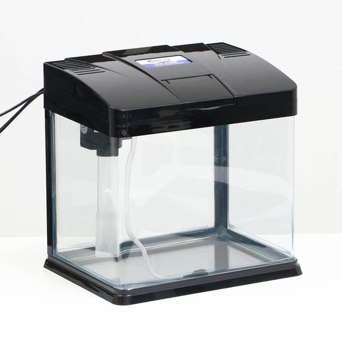Аквариум SeaStar HX-240F, 10 л, черный (в комплекте LED-лампа, фильтр)