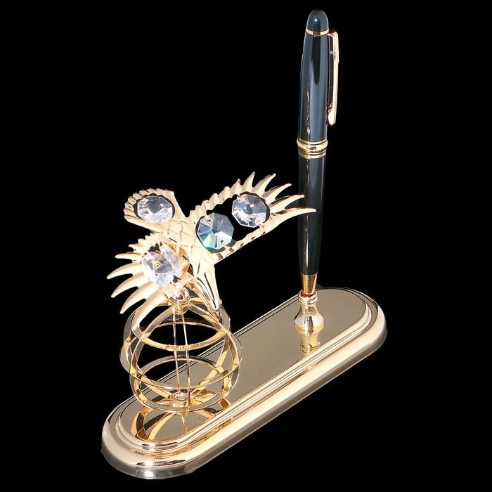 Ручка на подставке «Орёл», 9×15×13,5 см, с кристаллами Сваровски