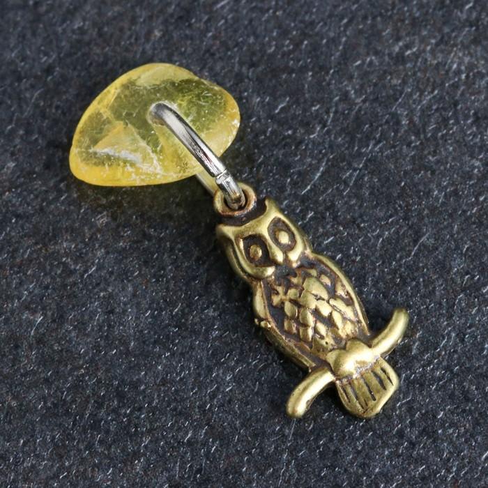 Брелок-талисман Сова, натуральный янтарь