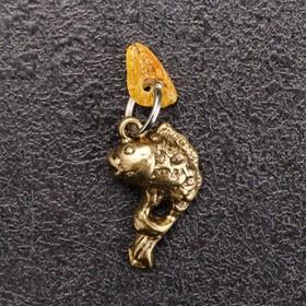 Брелок-талисман 'Рыбка', натуральный янтарь Ош