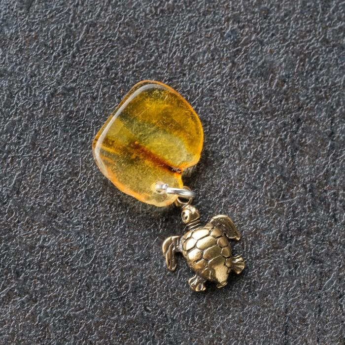 Брелок-талисман Черепашка, натуральный янтарь