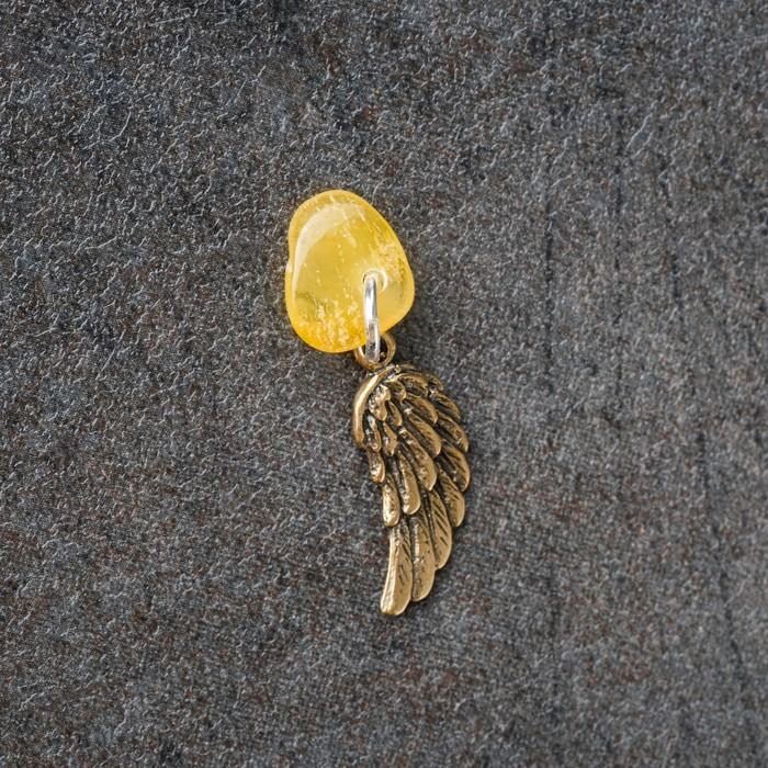 Брелок-талисман Крылья, натуральный янтарь