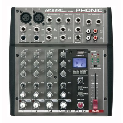 Микшерный пульт Phonic AM 220P  6-ти канальный, USB плеер (MP3 и WAV) (8 шт)