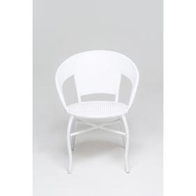 Стул, 53 × 53 × 75 см, искусственный ротанг, белый