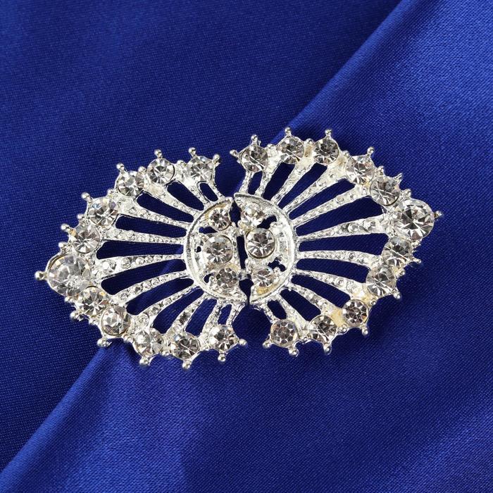 Декоративная застёжка, 6 × 3,5 см, цвет серебряный
