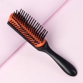 Расчёска массажная, цвет чёрный/оранжевый Ош