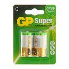 Батарейка алкалиновая GP Super, C, LR14-2BL, 1.5В, блистер, 2 шт.