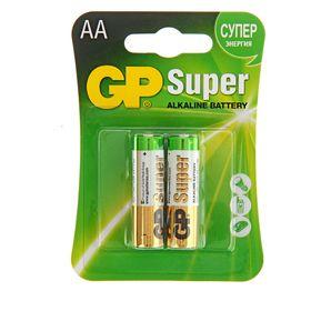 Батарейка алкалиновая GP Super, AA, LR6-2BL, 1.5В, блистер, 2 шт.