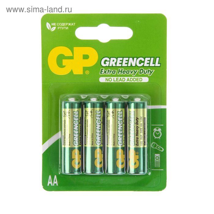 Батарейка солевая GP Greencell Extra Heavy Duty, AA, R6-4BL, 1.5В, блистер, 4 шт.