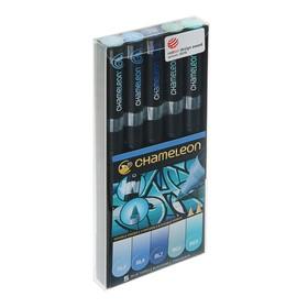 Набор художественных маркеров Chameleon, 5 цветов, двусторонний, пулевидный, 1.0, спиртовая основа, голубые тона
