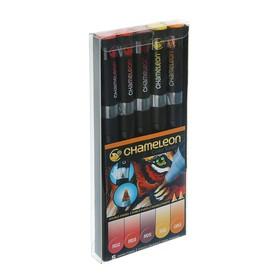 Набор художественных маркеров Chameleon, 5 цветов, двусторонний, пулевидный, 1.0, спиртовая основа, теплые тона