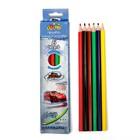 Карандаши 6 цветов, пластиковые, заточенные, гранённые, в картонной коробке, «Машина»