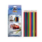 Карандаши 12 цветов, пластиковые, гранённые, в картонной коробке, «Машина»