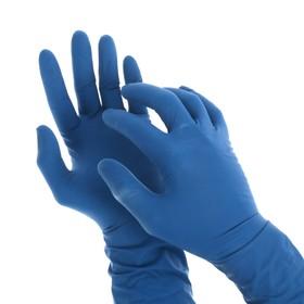 Перчатки латексные неопудренные A.D.M, размер S, 50 шт/уп, цвет синий
