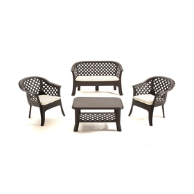 Набор мебели VERАNDА, 4 предмета: диван, 2 кресла, столик, с подушками, пластик Ош