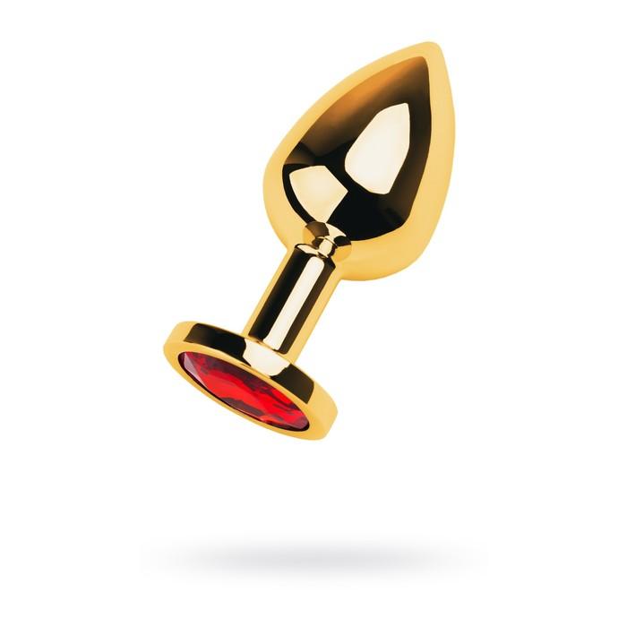 Анальная пробка Metal by Toyfa, золотистый, рубин, 8 см, d=3,4 см