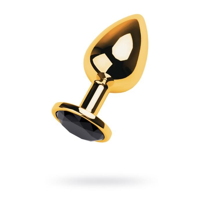 Анальная пробка Metal by Toyfa, золотистый, турмалин, 8 см, d=3,4 см