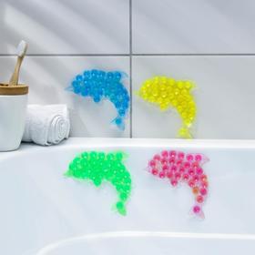 Мини-коврик для ванны «Дельфин», 11×12 см, цвет МИКС