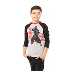 Лонгслив для мальчика, рост 98 см, цвет серый меланж/чёрный