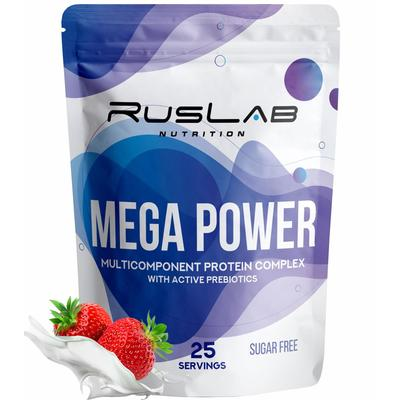 Протеин RusLabNutrition Mega Power Клубника со сливками, 800 г - Фото 1