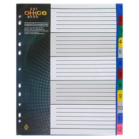 Разделитель листов А4+, 12 листов, 1-12, 'Office-2020', цветной, пластиковый Ош