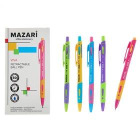 Ручка шариковая автоматическая VIVA, узел 1.0мм, чернила синие, микс