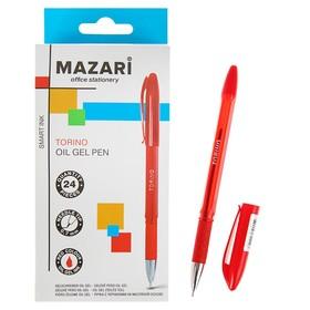 Ручка шариковая Mazari Torino, 0.7 мм, красная, резиновый упор, на масляной основе