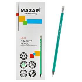 Карандаш чернографитный Mazari NIL R, HB, пластиковый, с ластиком