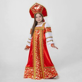 Русский народный костюм 'Любавушка', платье-сарафан, кокошник, р-р 32, рост 122-128 см, цвет красный Ош