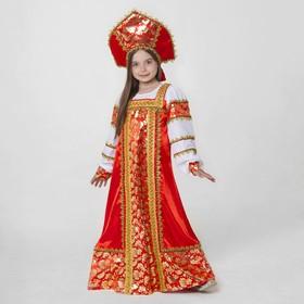 Русский народный костюм 'Любавушка', платье-сарафан, кокошник, р-р 34, рост 134 см, цвет красный Ош